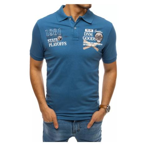 Niebieska koszulka polo z nadrukiem Dstreet PX0384