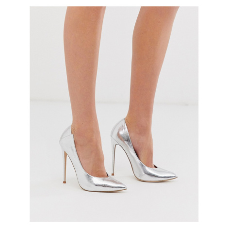Lost Ink heeled court shoes in silver