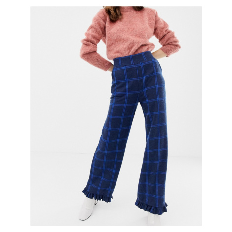 Soaked In Luxury Check Trouser With Ruffle Hem