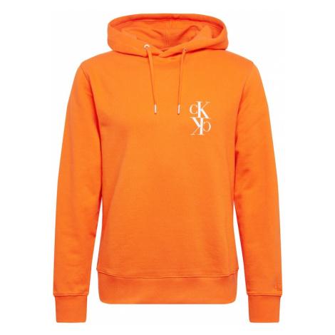 Calvin Klein Jeans Bluzka sportowa 'BACK MIRRORED MONOGRAM HOODIE' pomarańczowy