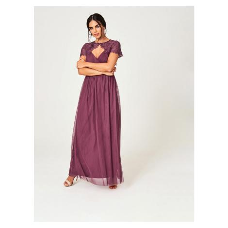 Little Mistress Purple Tulle Maxi Dress