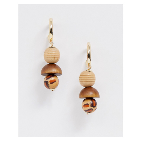 ASOS DESIGN hoop earrings with wooden ball and leopard print design in gold tone