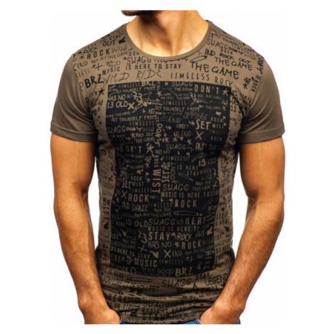 T-shirt męski z nadrukiem khaki Bolf 1173