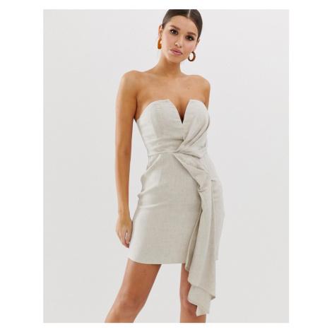 ASOS DESIGN bandeau mini dress with drape detail in textured linen
