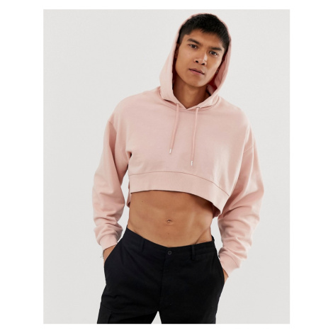 ASOS DESIGN cropped oversized hoodie in pink