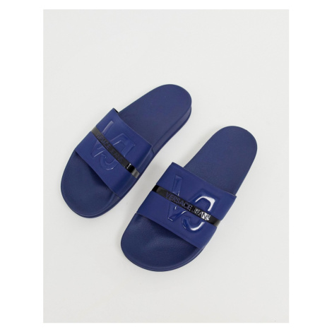 Versace Jeans sliders with blue sole