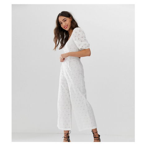 ASOS DESIGN Tall square neck puff sleeve jumpsuit in broderie