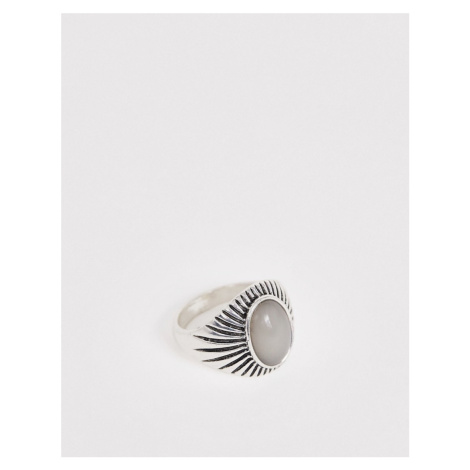 DesignB statement ring with stone in silver DesignB London