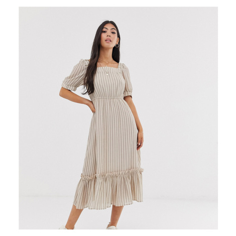 Y.A.S Petite stripe square neck tiered midi dress