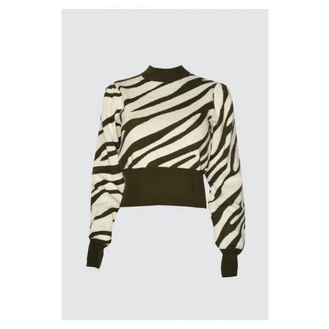 Trendyol Khaki Zebra Patterned Knitsweater