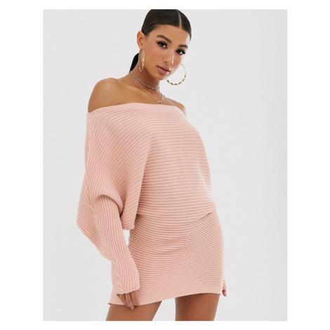 ASOS DESIGN ripple off shoulder jumper dress