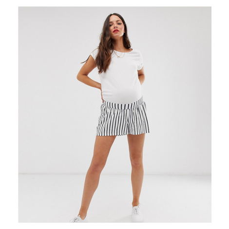 ASOS DESIGN Maternity under the bump culotte shorts in white and navy stripe print