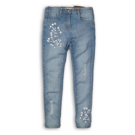 Spodnie dziewczęce jeansowe z ozdobnymi haftami Minoti