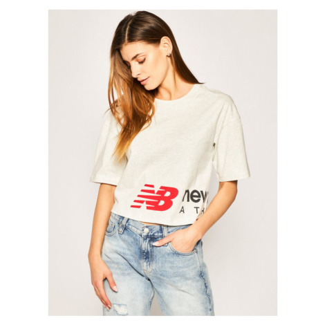 New Balance T-Shirt Essential Icon Graphic Boxy Tee WT01515 Szary Relaxed Fit
