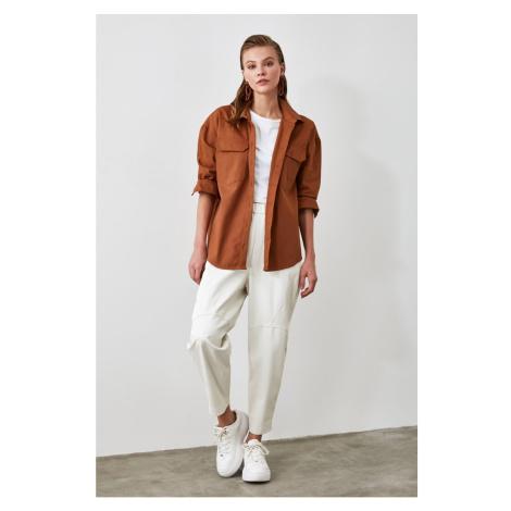 Modyl camel tylny nadruk Szczegółowy Shirt Trendyol