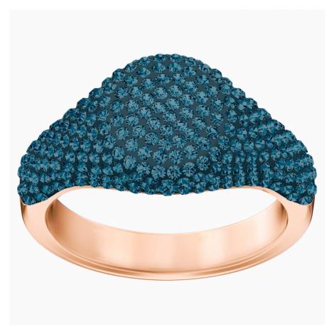 Stone Signet Ring, Blue, Rose-gold tone plated Swarovski