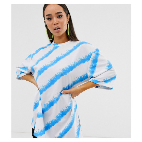 Boohoo exclusive oversized t-shirt with side splits in blue and white tie dye
