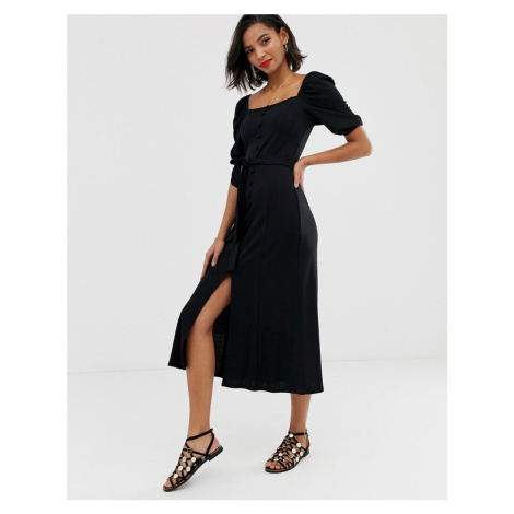 ASOS DESIGN midi button through square neck dress with belt