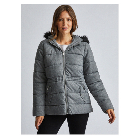 Grey quilted jacket with Dorothy Perkins fur coat