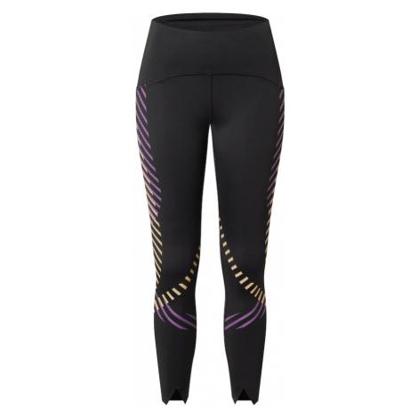 NIKE Spodnie sportowe czarny / fioletowy / żółty