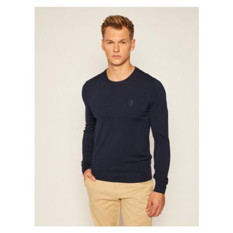 Trussardi Sweter 52M00343 Granatowy Slim Fit