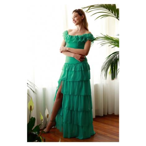 Trendyol Mint Frill Szczegółowe suknie wieczorowe & sukienka ukończenia