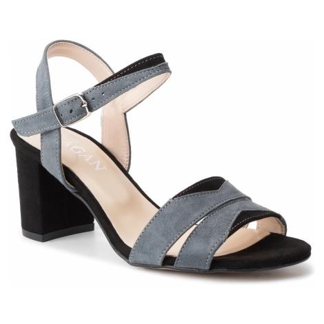 Sandały SAGAN - 2914 Szary Welur/Czarny Welur
