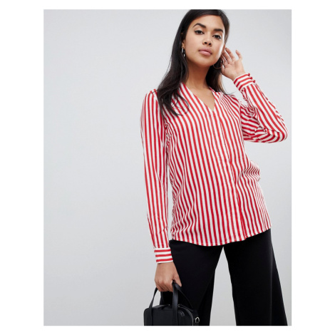 Y.A.S Strey striped collareless shirt