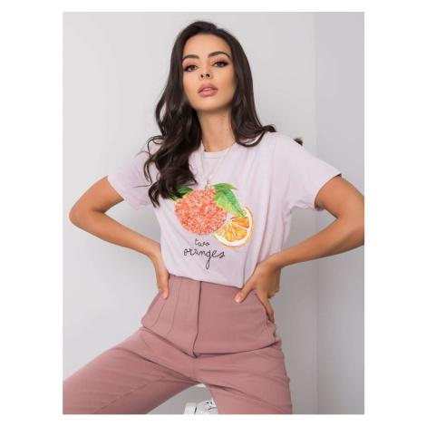 Liliowa koszulka damska i #39 z aplikacją i nadrukiem
