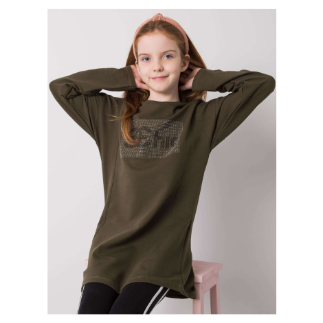 Khaki cotton tunic for a girl