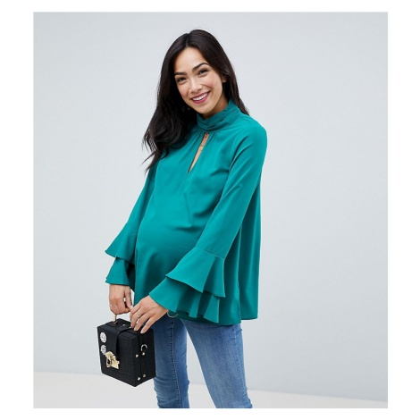 ASOS Maternity Cut Out Neck Flared Sleeve Blouse