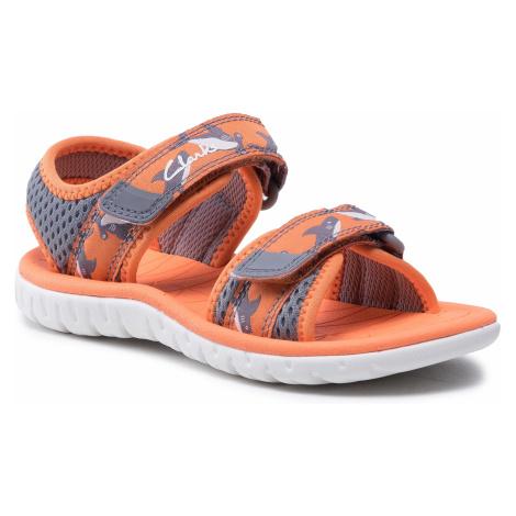 Sandały CLARKS - Surfing Tide K 261563577 Orange Textile