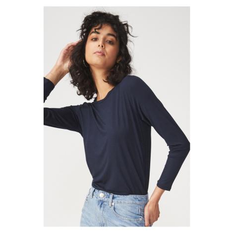 Damska bluzka basic z długim rękawem Kathleen niebieska