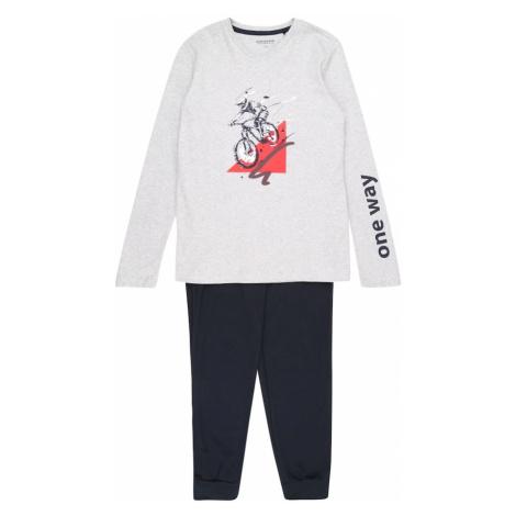 SCHIESSER Piżama 'Downhill' ciemny niebieski / nakrapiany szary / czerwony / biały
