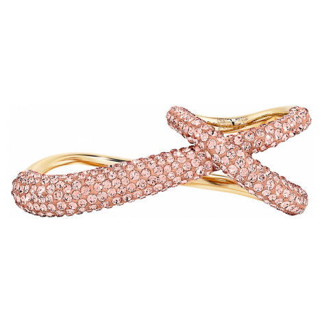 Podwójny pierścionek z kolekcji Tigris, różowy, w odcieniu złota Swarovski