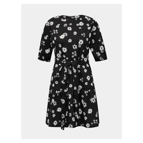 Czarna sukienka w kwiaty TALLY WEiJL