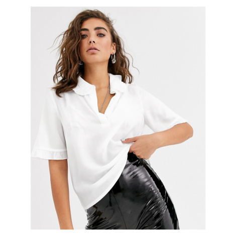 Object short sleeve blouse with frill collar