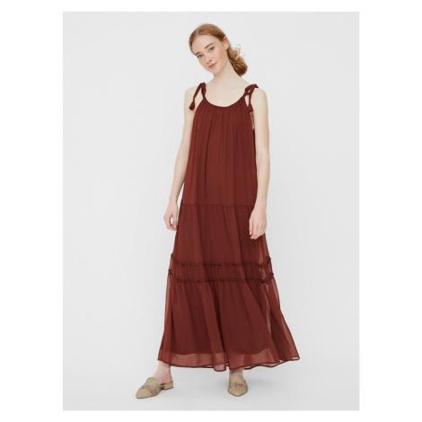 Brązowa sukienka maxi VERO MODA Penelope