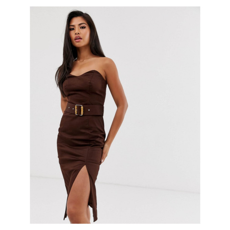 River Island pencil dress with bamboo belt in chocolate