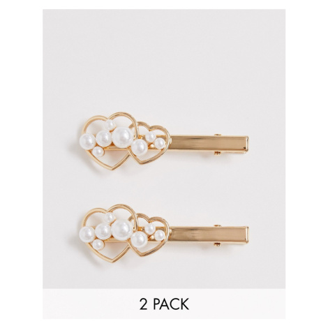 ASOS DESIGN pack of 2 hair clips in pearl studded heart design in gold tone