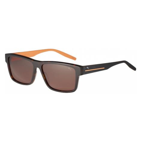 PUMA Okulary przeciwsłoneczne 'PU0267S-001 58 Sunglass MAN ACETATE' pomarańczowy / ciemnobrązowy