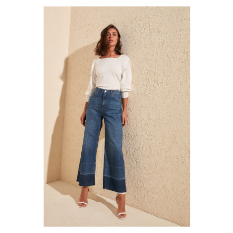 Trendyol High Waist Culotte Jeans WITH Blue Legs Color Block