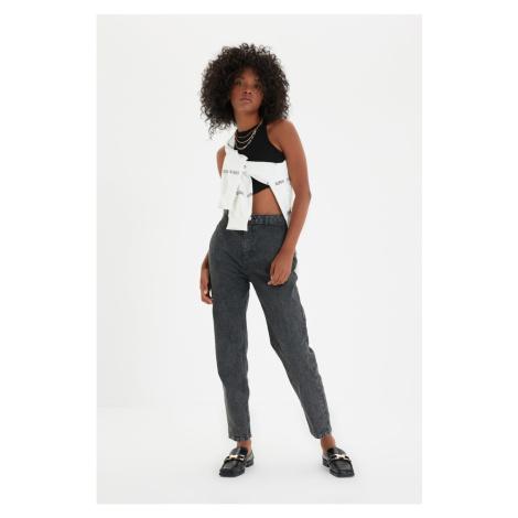 Trendyol Antracytowa kieszeń Szczegółowe dżinsy mom jeans z wysokim stanem
