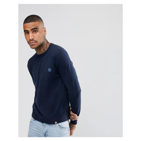 Pretty Green Hinchcliffe crew neck jumper in navy