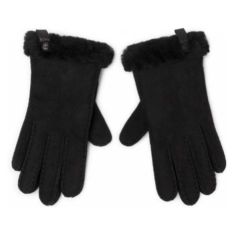 Ugg Rękawiczki Damskie W Shorty Glove W Leather Trim 17367 Czarny