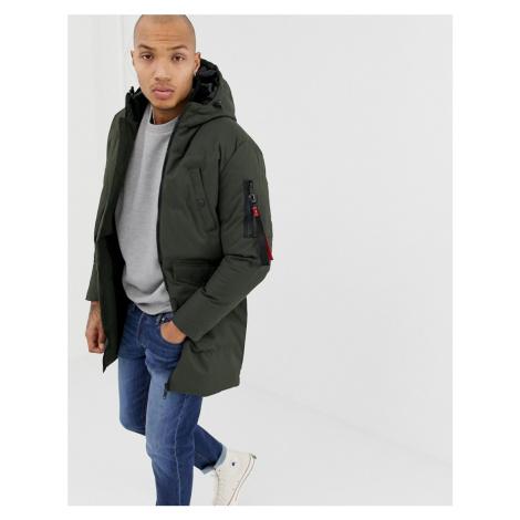 Soul Star Long line Puffer Jacket In Khaki