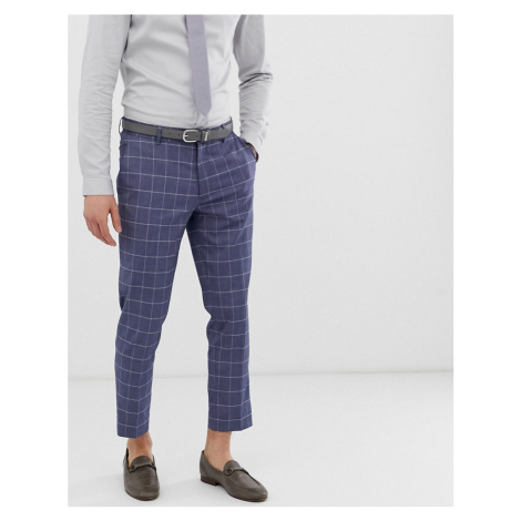 ASOS DESIGN wedding skinny crop suit trousers in linen blue check