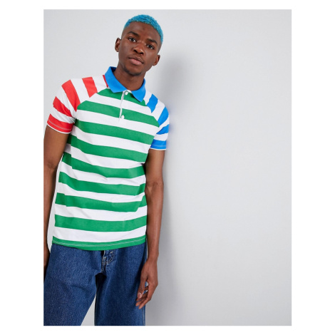 ASOS DESIGN stripe polo with contrast sleeves