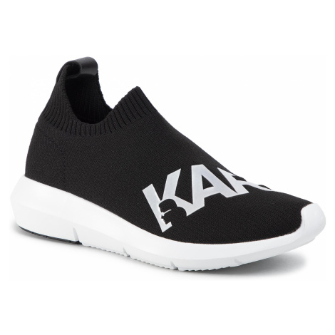 Sneakersy KARL LAGERFELD - KL61115 Black Knit Textile W/White