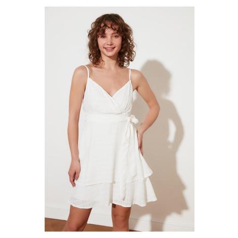 Trendyol White Petite Belted Dress